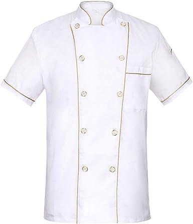 Freahap Chaqueta Chef Camisa de Cocinero Manga Corta de Verano: Amazon.es: Ropa y accesorios
