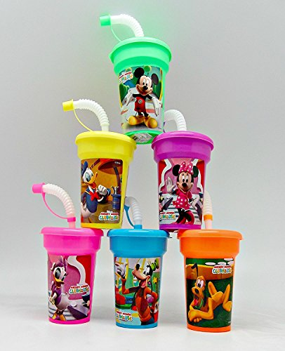 6 Mickey Mouse Clubhouse Minnie Mouse Stickers Birthday Sipper Cups with lids Party Favor Cups