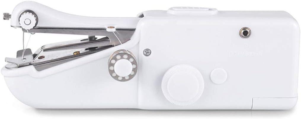Nfudishpu Mini máquina de Coser de Mano multifunción Uso de Viaje en el hogar, Stitch Machine Stitch Herramienta doméstica portátil para Tela, Manualidades portátiles, Blanco