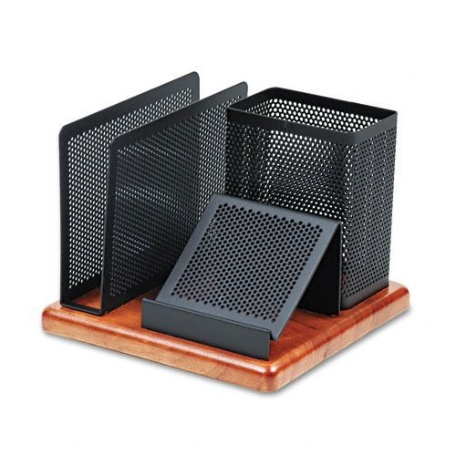 "Rolodex Distinctions Desk Organizer, Metal/Wood, 5-7/8"" x 5-7/8"" x 4-1/2"", Black/Cherry (1813918)"