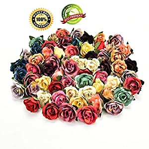 Silk Flowers in Bulk Wholesale Silk Flower Heads Wedding Artificial Flowers Birthday Party Decorative Faux Gifts Flower DIY Accessories 30Pcs 3cm (Multicolor) 35