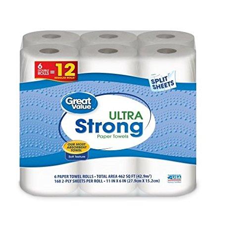 Great Value Paper Towels, Split Sheets, 6 Double Rolls (pack of 1) (Best Value Paper Towels)