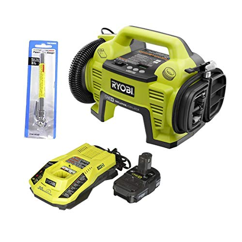 Ryobi P731 One+ 18v Dual Function Power Inflator/Deflator with Charger, Lithium-ion battery and Pittsburgh Automotive Pencil Tire Gauge (Bundle) (Renewed)