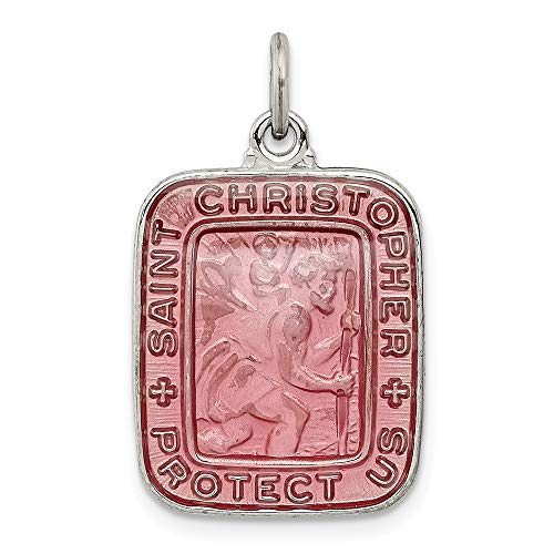 925 Sterling Silver Pink Enamel Square Saint Christopher Medal Pendant Charm Necklace Religious Patron St Fine Jewelry Gifts For Women For Her