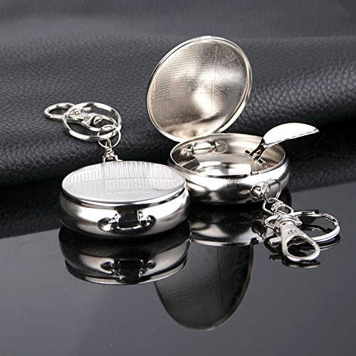 (Chris.W 2Pcs Stainless Steel Portable Pocket Circular Ashtray Key Chain with Cigarette Snuffer and Lid)