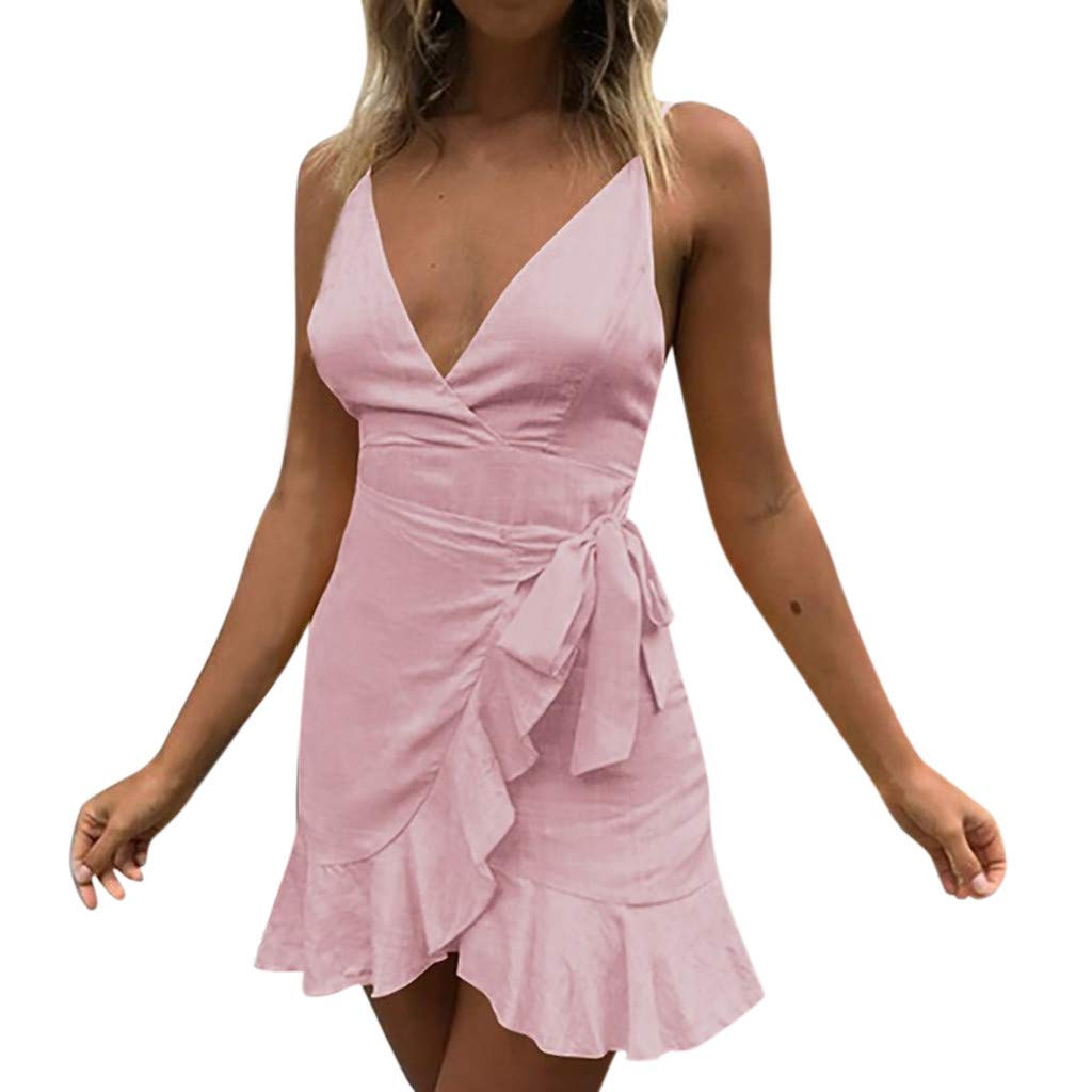 Womens Sexy Dresses Holiday Lace Up Spaghetti Dress Ladies Summer Pomisi Backless Beach Party Mini Dress Pink