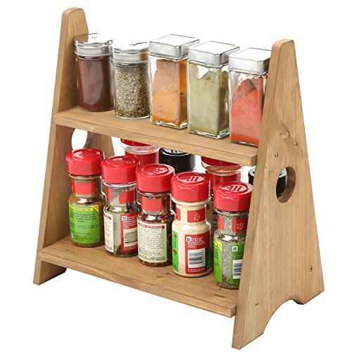 MyGift 2 Tier Decorative Multipurpose Desktop Wood Display Shelves, Countertop Spice Rack