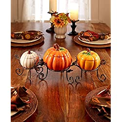Pumpkin Table Centerpiece Bowl Set Thanksgiving Harvest Fall Home Kitchen Decor 4 Pcs
