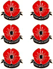 6 Pcs Poppy Brooch Pin Jewelry Lest We Forget Enamel Red Poppy Flower Brooches Remembrance Day Gift