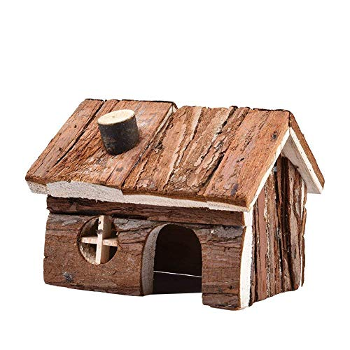 Hamster Wooden House with Chimney Small Animals Hideout for Pet Rat Mice Gerbil Cage Play Hut (M)