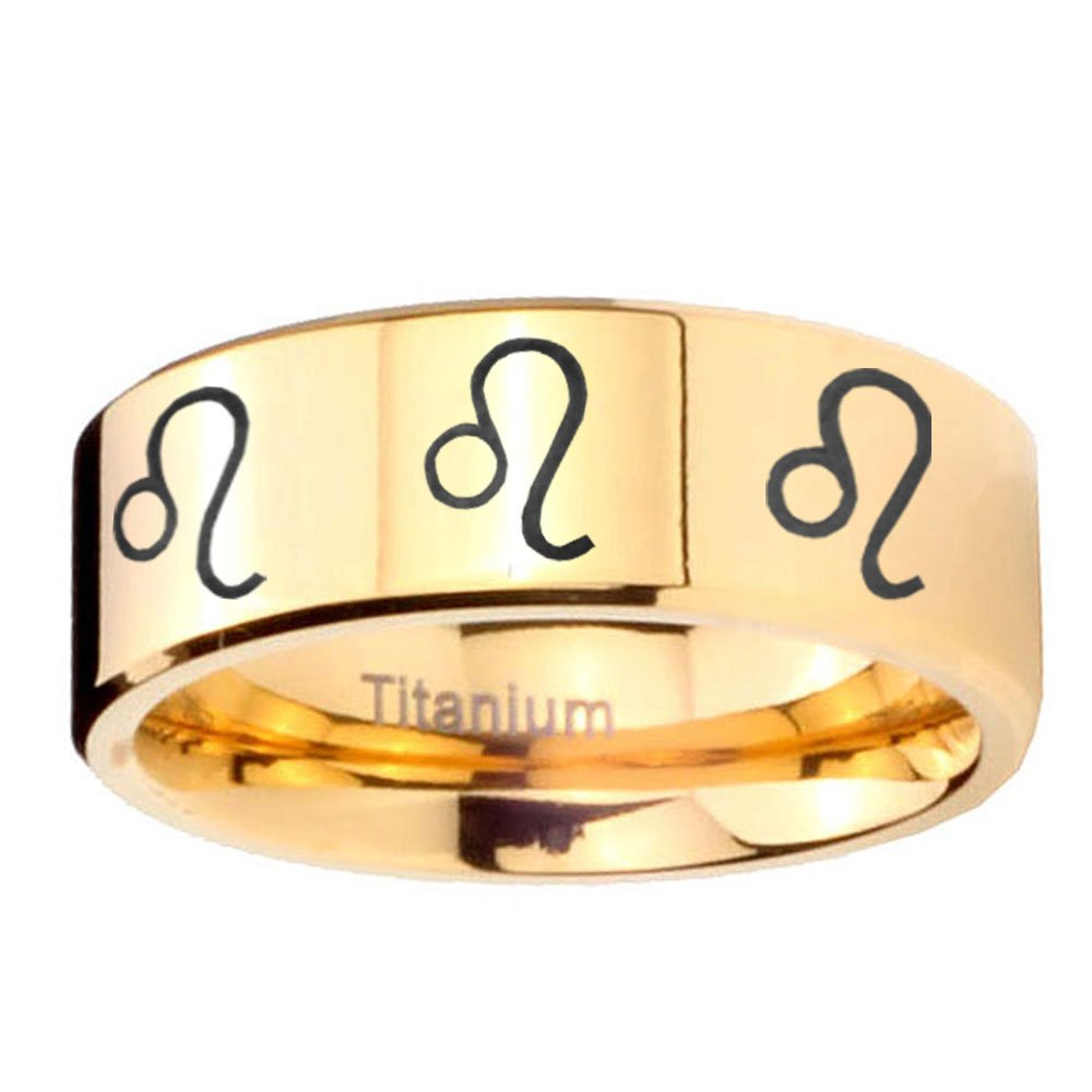 Size 4 to 13 Janjewelry Gold IP Titanium 8 Leo Zodiac Pipe Cut Engraved Ring 6MM, 8MM