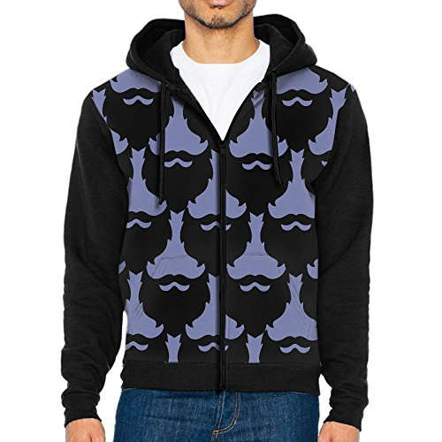 Beard Mustache Funny Kuso Men's Adult Casual Pocket Hooded Sweater Zipper Hoodie Long Sleeve Sweatshirt - Chapel Hills Ford