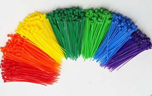 Price comparison product image Mini Skater Self-locking 4 Inch Type Assorted Colors Nylon Cable Ties, Wire Ties,Durable,700 Pcs/Pack (Colored)