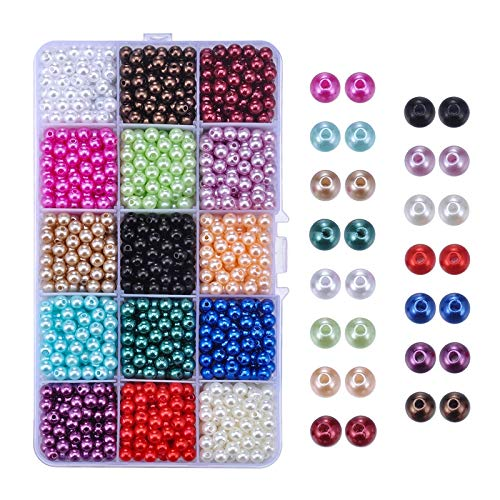 Faux Pearl Beads Luster Glossy Polished Round Pearl Loose Beads for Wedding Party Decoration Jewelry Craft Making, 15 Colors, 6mm, APPR. 1500Pcs