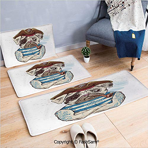 FashSam 3 Piece Flannel Doormat Pirate Pug Conqueror of The Seas Pipe Skulls and Bones Hat Striped Sleeveless T Shirt Decorative for Kitchen Rugs Carpet(W15.7xL23.6 by W19.6xL31.5 by W31.4xL47.2)
