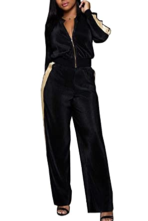 Selowin Womens 2pcs Long Sleeve Zip up Jackets Loose Wide Leg Pants  Sweatsuits Black S f1427abba5