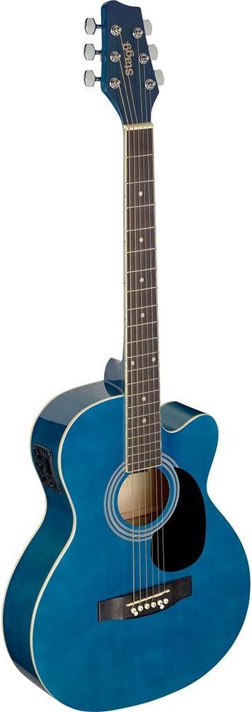 Guitarra acústica de auditorio Stagg, azul: Amazon.es ...