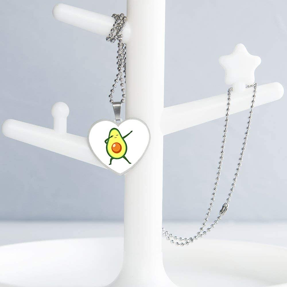 Dabbing Avocado Funny Necklace Personalized Engraved Heart Custom Gift Pendant-Valentines Day Love