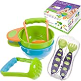 Baby Food Masher Bowl Set with Training Spoon & Fork-Utensil Travel Case Included