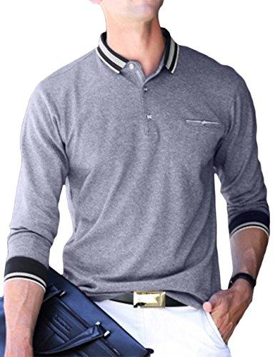 (アッシュランゲル)ASHERANGELポロシャツ メンズ 長袖 無地 フィット Tシャツ ゴルフ ビジネス