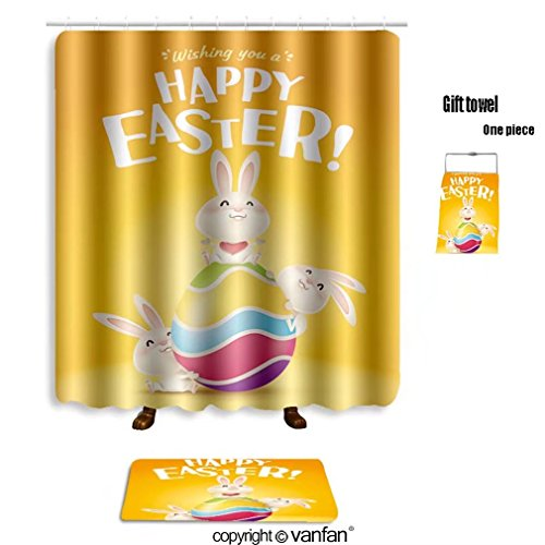 vanfan bath sets with Polyester rugs and shower curtain happy easter easter bunnies and egg in plain shower curtains sets bathroom 72 x 108 inches&31.5 x 19.7 inches(Free 1 towel and 12 hooks)