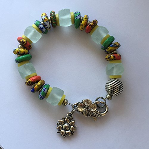 "Charm/link Bracelet, African fair trade recycled white glass beads African fair trade multi color glass rondelles, Kakamba prosser rondelles, sunflower charm 7 ½"". Handmade one of a kind piece."