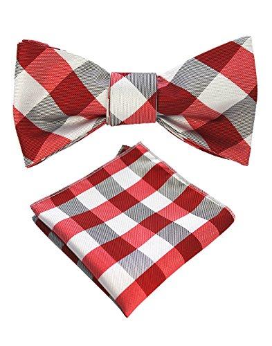 JEMYGINS Mens Red Plaid Bowtie Self Bow Tie & Pocket Square Set (26)
