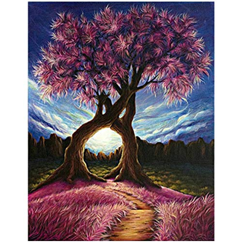 Cinhent Diamond Painting, Embroidery Rhinestone Pasted DIY Cross Stitch - Modern Arts, Abstract Conjoined Pink Couple Tree, 30 x 40CM, Popular Hotel Wall Decor, Shining in The Light ()