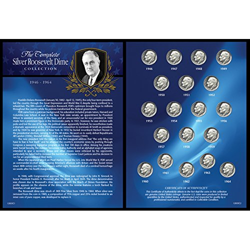 American Coin Treasures Complete Silver Roosevelt Dime Collection 1946-1964