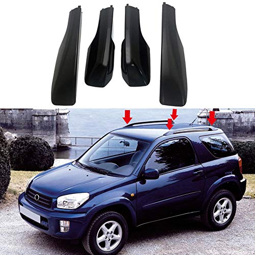 HIGH FLYING Car Accessories Black Roof Rack Rails End Cap Protection Cover Shell for Toyota RAV4 2001-2005