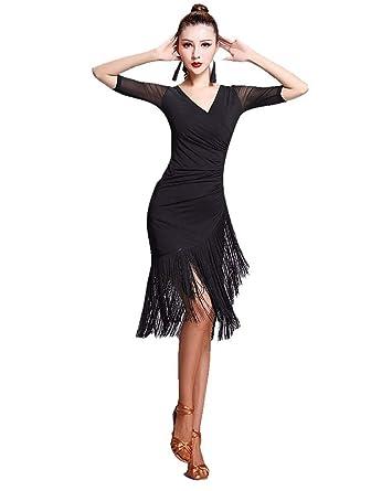 633ea99b3 Amazon.com: TALENT PRO Latin Rhythm Ballroom Carmen Fringe Tango Dance  Dress (XX-Large): Clothing
