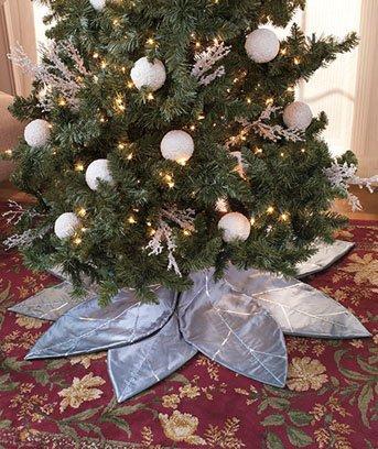 Silver Poinsettia Tree Skirt