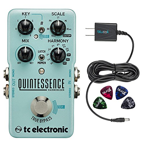 TC Electronic Quintessence Harmonizer Pedal Bundle with Blucoil Slim 9V 670ma Power Supply AC Adapter and 4-Pack of Celluloid Guitar Picks