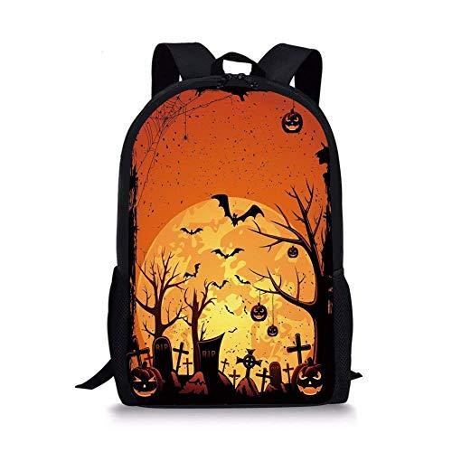 School Bags Halloween,Grungy Graveyard Cemetery Necropolis with Bats Pumpkins Crosses Cobweb Decorative,Orange Brown Black for Boys&Girls Mens Sport -