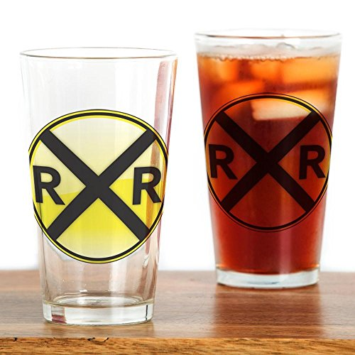CafePress Railroad Crossing Drinking Glass