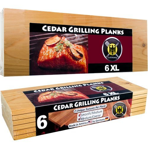 6 Piastre XL LUNGHEZZA INTERA  in legno di cedro per griglia - confezione da 6