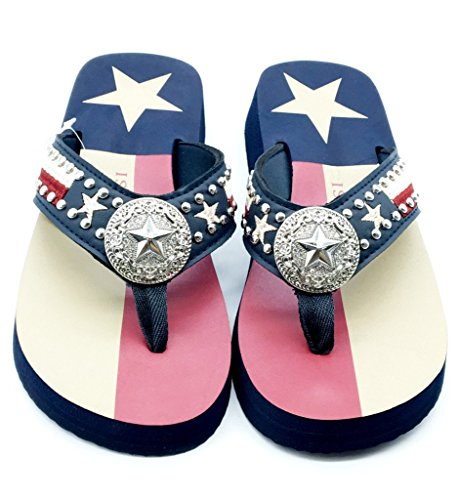 Women Flip Flop Flat Texas Lone Star Flag Western Ladies Slipper Navy Blue Sandals (L (size 8-9)) -