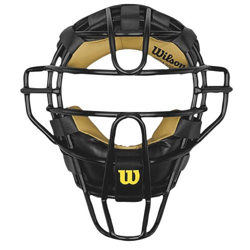 Wilson Dyna-Lite Steel Cage Two Tone Black and Leather Umpire's - Wilson Mask