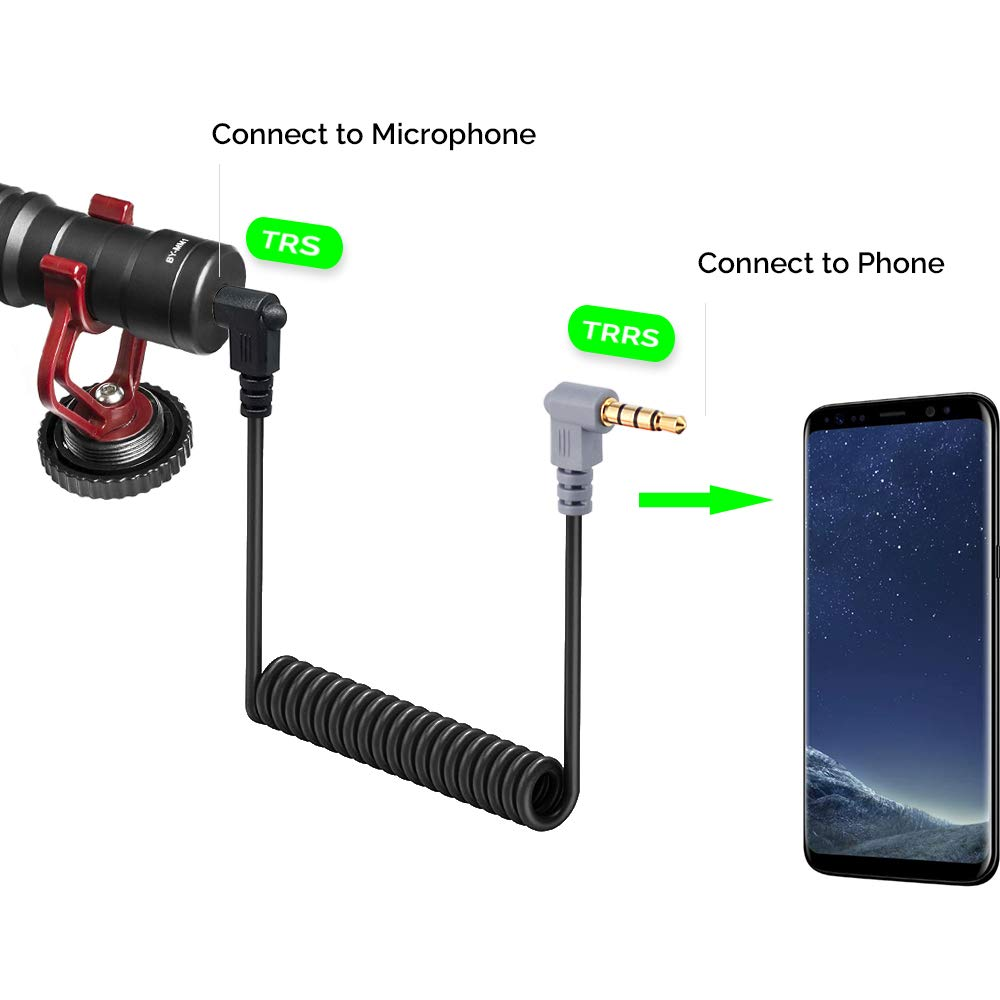 Replacement SC7 Coiled Mic Adapter Cable Compatible iPhone 3.5mm TRS to TRRS Microphone Patch Cable Android Smartphone BOYA and More Rode