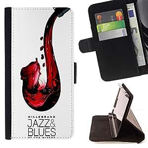 BullDog Case - FOR/LG G3 / - / JAZZ BLUES WINE RED SAXOPHONE ART /- Monedero de cuero de la PU Llevar cubierta de la caja con el ID Credit Card Slots Flip funda de cuer