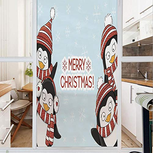 Decorative Window Film,No Glue Frosted Privacy Film,Stained Glass Door Film,New Year Quote Cute Penguins with Hats and Scarf Snowflakes Kids Decor,for Home & Office,23.6In. by 35.4In Blue -