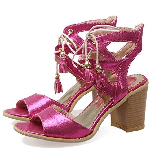 COOLCEPT Mujer Moda Cordones Sandalias Punta Abierta Tacon Ancho Slingback Zapatos Rosa Rojo