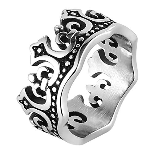 HZMAN Men's Vintage Royal King Crown Ring Stainless Steel for Wedding Band Promise (9)