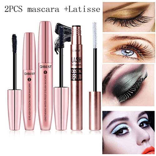 KCPer Black Waterproof Makeup Eyelash Long Curling Mascara Eye Lashes Extension Eyelash Growth Enhancer & Brow Serum with Biotin & Natural Growth Peptides for Long, Thick Lashes and Eyebrows
