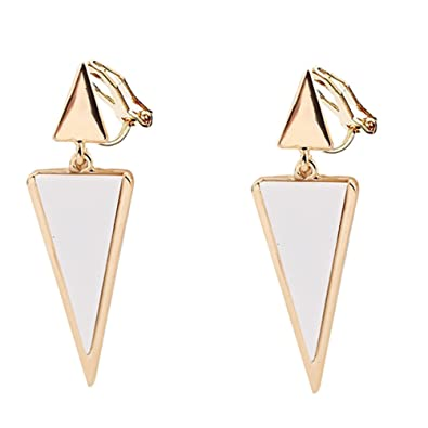 Clip on Earring Back with Pad Double Triangle Dangle for Girl Kid no Piercing Fashion Jewelry Resin White ZLtqh