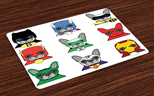 Ambesonne Superhero Place Mats Set of 4, Bulldog Superheroes Fun Cartoon Puppies in Disguise Costume Dogs with Masks Print, Washable Fabric Placemats for Dining Room Kitchen Table Decor, -