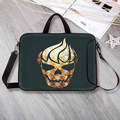 Modern Custom Neoprene Laptop Bag,Gothic Skull with Fractal Effects in Fire Evil Halloween Concept Laptop Bag for Men Women Students,15.4
