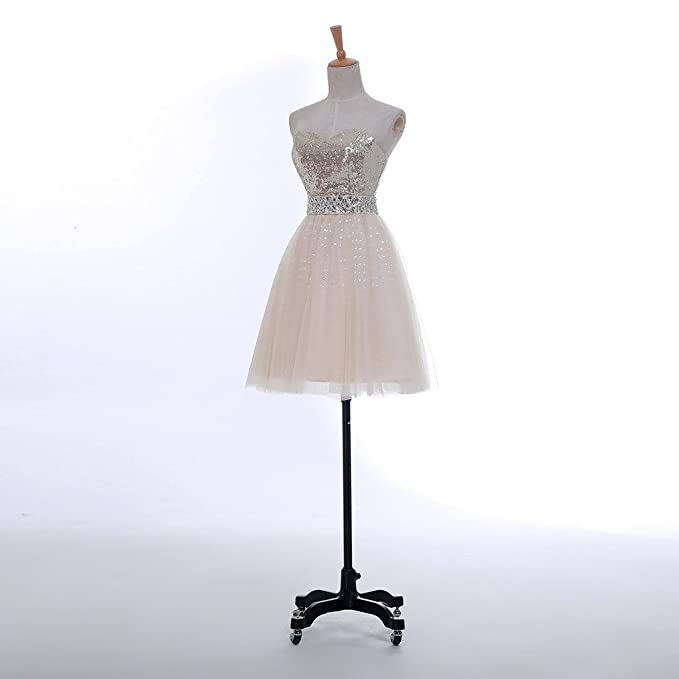 928a4296ecf WAJY Womens Sweetheart Champagne Short Prom Dresses - Beige -  Amazon.co.uk