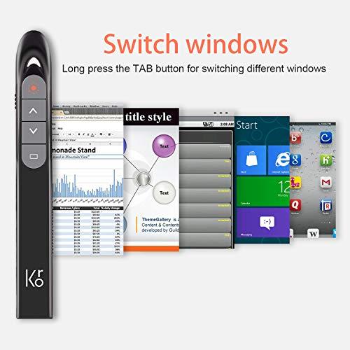 KRONIUM Wireless Presenter with Laser Pointer, Presentation Remote Presentation Clicker, Laser Pointer 2.4GHz USB Powerpoint PPT Clicker Flip Pen for Office Teacher,Support Hyperlink (Black) Photo #8