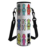 iPrint Water Bottle Sleeve Neoprene Bottle Cover,90s,Pixel Robot Emoticons with Game Over Sign Inspired by 90s Computer Games Fun Artprint,Yellow Red,Fit for Most of Water Bottles
